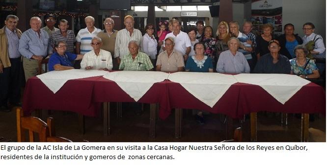 El grupo de la AC Isla de La Gomera en su visita a la Casa Hogar Nuestra Señora de los Reyes en Quíbor, residentes de la institución y gomeros de zonas cercanas.